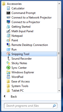 Sniping tool on windows 7