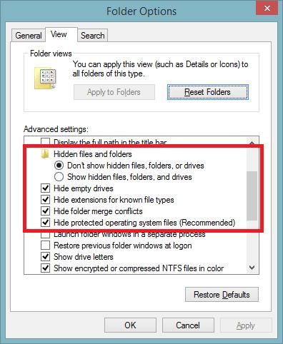 Folder Options - View