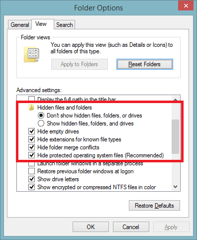 Folder Options - View