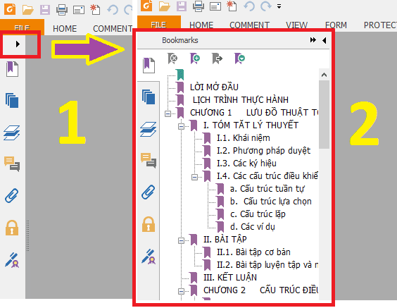 Hiển thị bookmarks