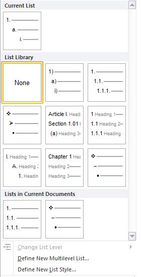 MultiLevel List