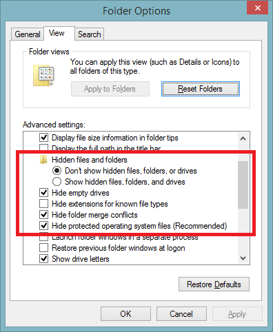 Options show file type