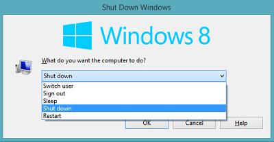 Phím tắt tắt máy tính