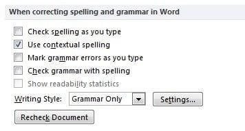 Tắt chức năng kiểm tra lỗi từ