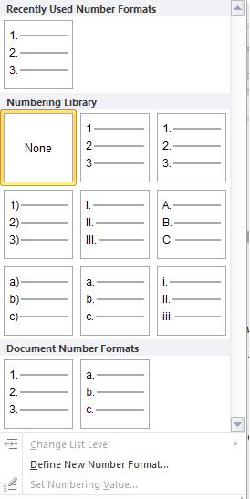 các lựa chọn Numbering
