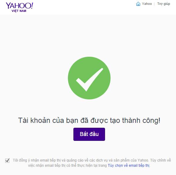 hoàn thành đăng ký mail yahoo