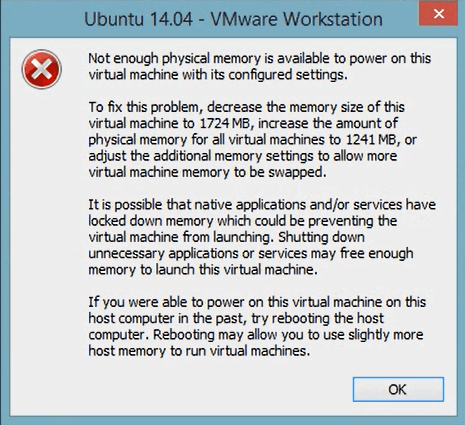 lỗi Not enough physical memory trên VMware