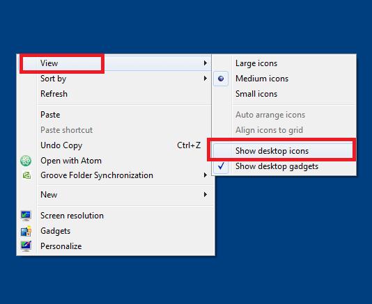 Khắc phục lỗi mất biểu tượng icon ngoài màn hình Desktop